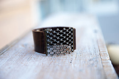 Vintage Leather Bracelet with top of the line Swarovski Diamonds