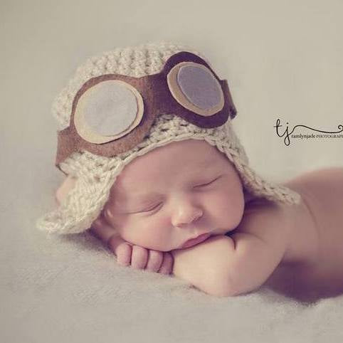 Aviator Pilot hat with felt goggles for Newborn- 12 months babies