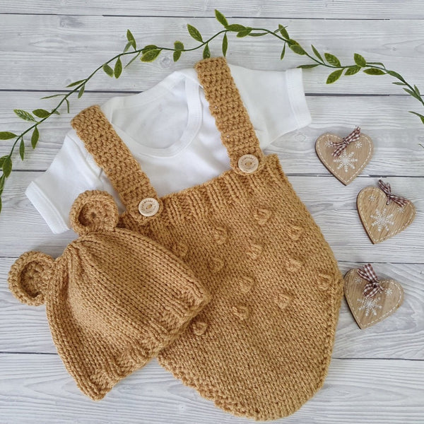 BEIGE BEAR HAT AND ROMPER SET FOR BOYS