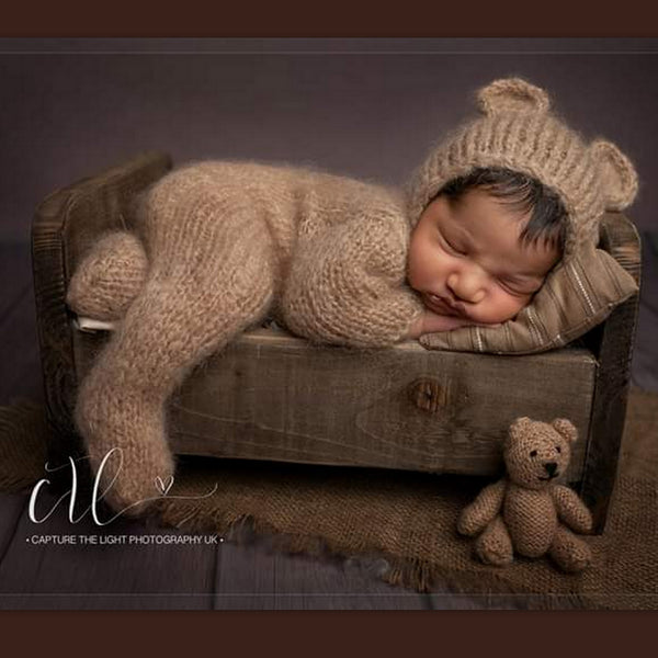 KNITTED BABY BEAR SUIT PHOTO PROP COSTUME UK BABY