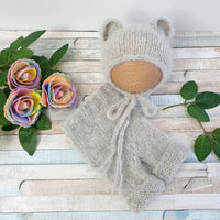 Grey bear bonnet and shorts set for newborn baby photo shoot