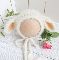 little lamb knitted baby bonnet for newborn photography