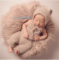 Beige knitted baby bear bonnet and dungaree set for newborn photography prop sitter size