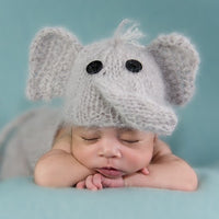 Baby Elephant hat and dungaree set, with a toy elephant photo prop