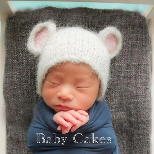 handmade knitted newborn baby mouse rat bonnet uk props