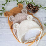 knitted baby bear bonnet photo prop for newborns