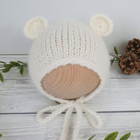 cream baby bear bonnet for newborn
