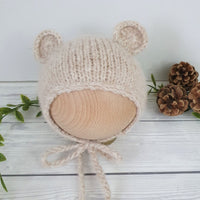 beige bear bonnet for newborn photography