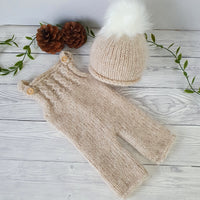 beige baby trousers and pom pom hat baby clothes uk