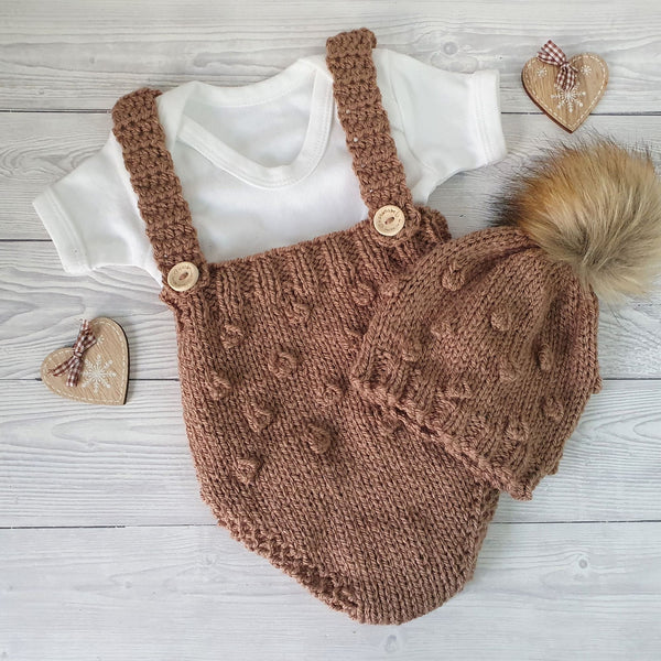 brown baby boy handknit romper pants and bobble hat