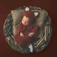 Fluffy Knitted footed romper pajama fox outfit for newborn photo prop