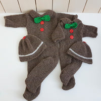 newborn sitter size footed onesie gingerbread man oufit for babys first christmas