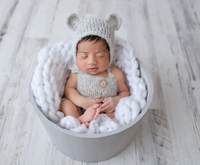 Baby Bear set with a knitted Romper, matching bear ears bonnet . 0-9 months. 14 colours