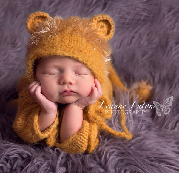 knitted baby lion costume newborn photo prop