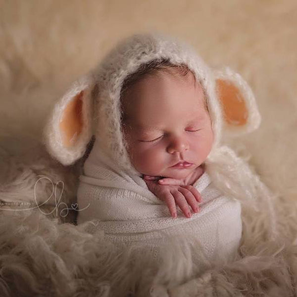 knitted alpaca baby lamb bonnet newborn photo prop
