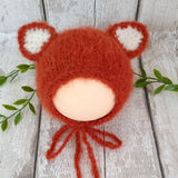 handknit fluffy baby fox hat photography prop baby bonnet