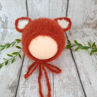 baby fox bonnet fluffy alpaca newborn baby hat
