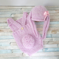 pink bunny rabbit romper with fluffy tail and hat with floppy bunny ears for baby