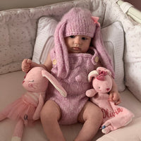 pink baby girl bunny romper bunny hat baby clothes knitting