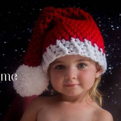 Handmade Red Christmas Santa hat for babies up to 3 years
