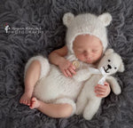 handknit baby bear romper and bonnet set in white