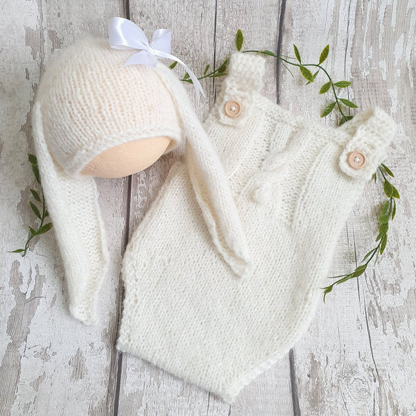 handknit baby bunny rabbit romper and bunny hat newborn photo prop cream