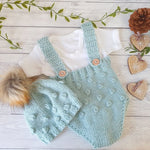 handknit baby clothes romper and pom hat for boys