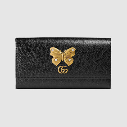 Leather continental wallet with butterfly
