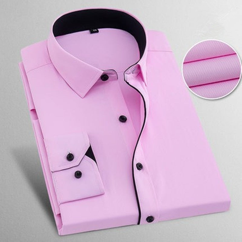 e5818293747 New 2018 Spring Autumn Solid Plus Size 8XL Slim Fit Cotton Men Dress Shirts  Long sleeve