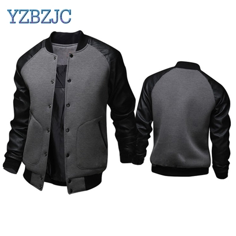 5edaedf3cfe Cool College Baseball Jacket Men 2018 Fashion Design Black Pu Leather Sleeve  Mens Slim Fit Varsity