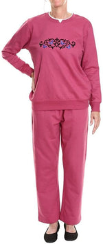 Pembrook Women's Embroidered Fleece Sweatsuit Set