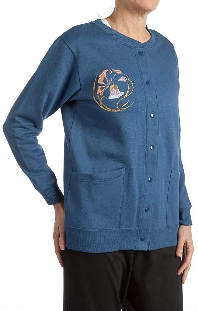 Pembrook Womens Fleece Cardigan Jacket with Embroidery