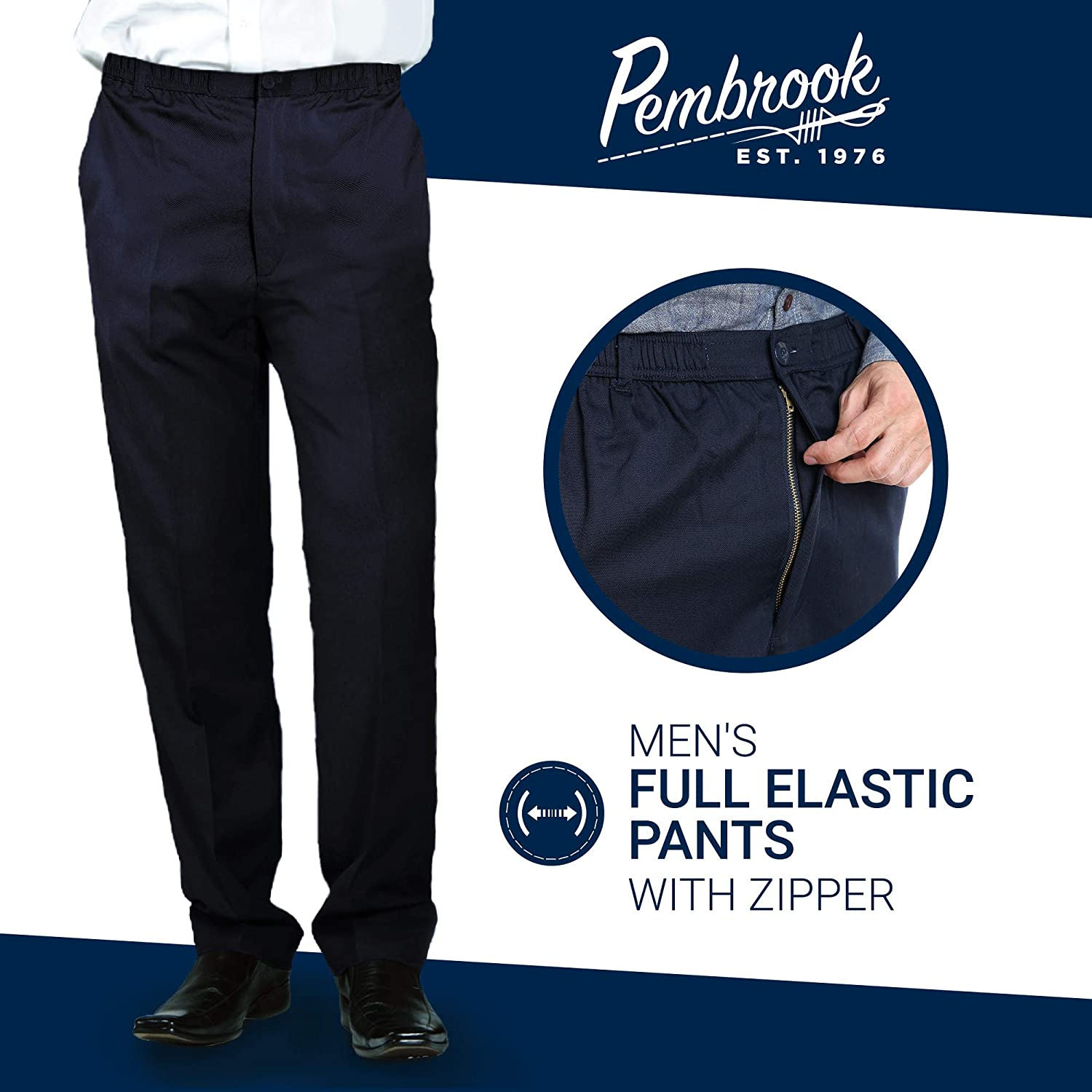 Pembrook Men's Elastic Waist Casual Pants