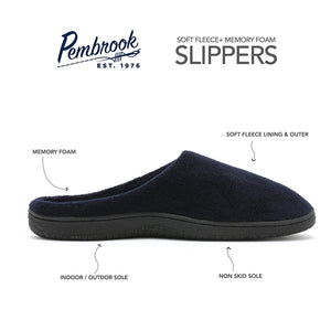 Pembrook Men's Slippers – Comfortable Memory Foam + Soft Fleece