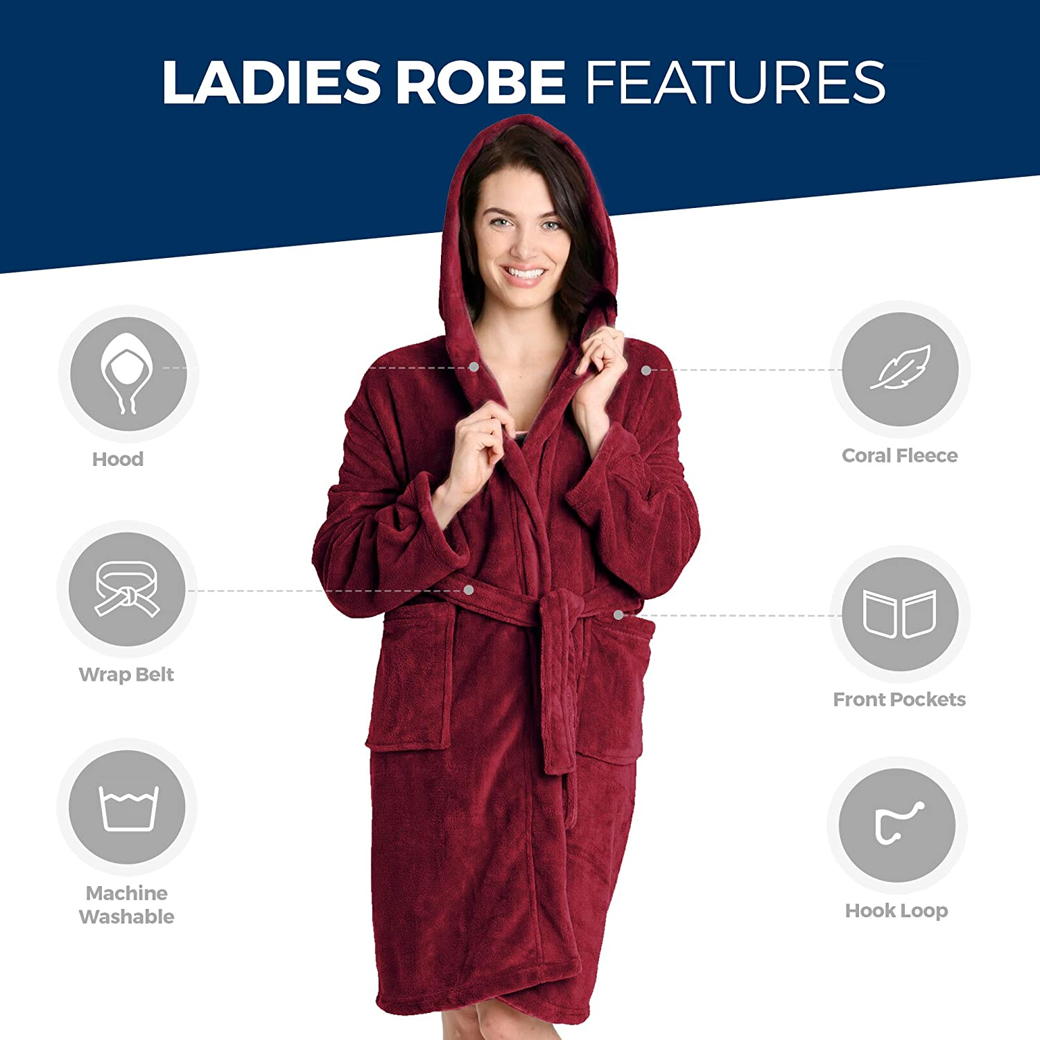 Pembrook Ladies Robe with Hood - Fleece