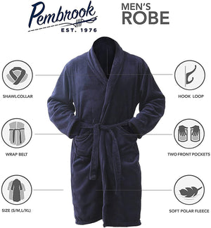 Pembrook Men's Robe - Soft Fleece – Kimono Hotel Spa Bathrobe