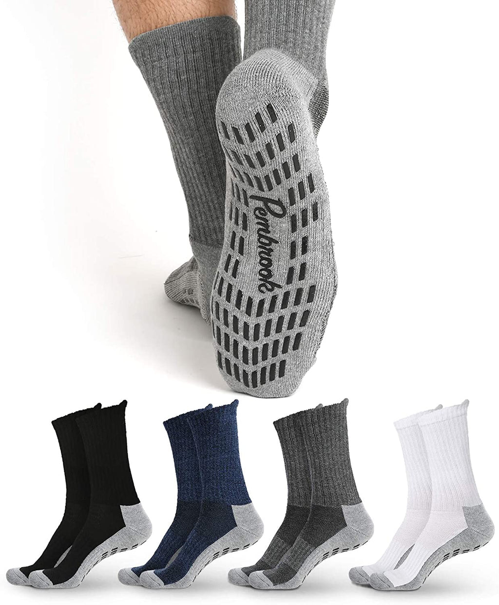 Non Skid Crew Socks - (4 Pack)