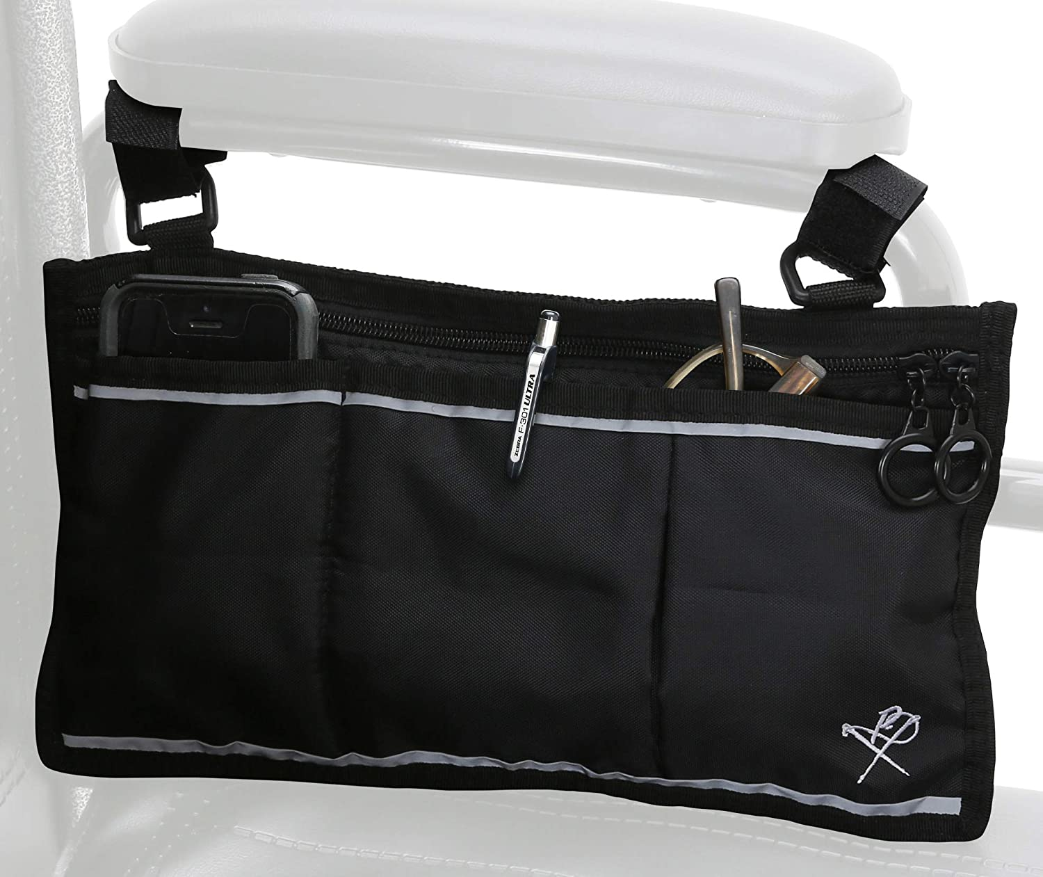 Pembrook Wheelchair Side Bag with Pouches - Great for Electric Wheelchairs