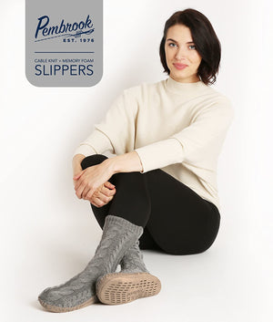 Pembrook Ladies Tall Cable Knit Slipper Socks