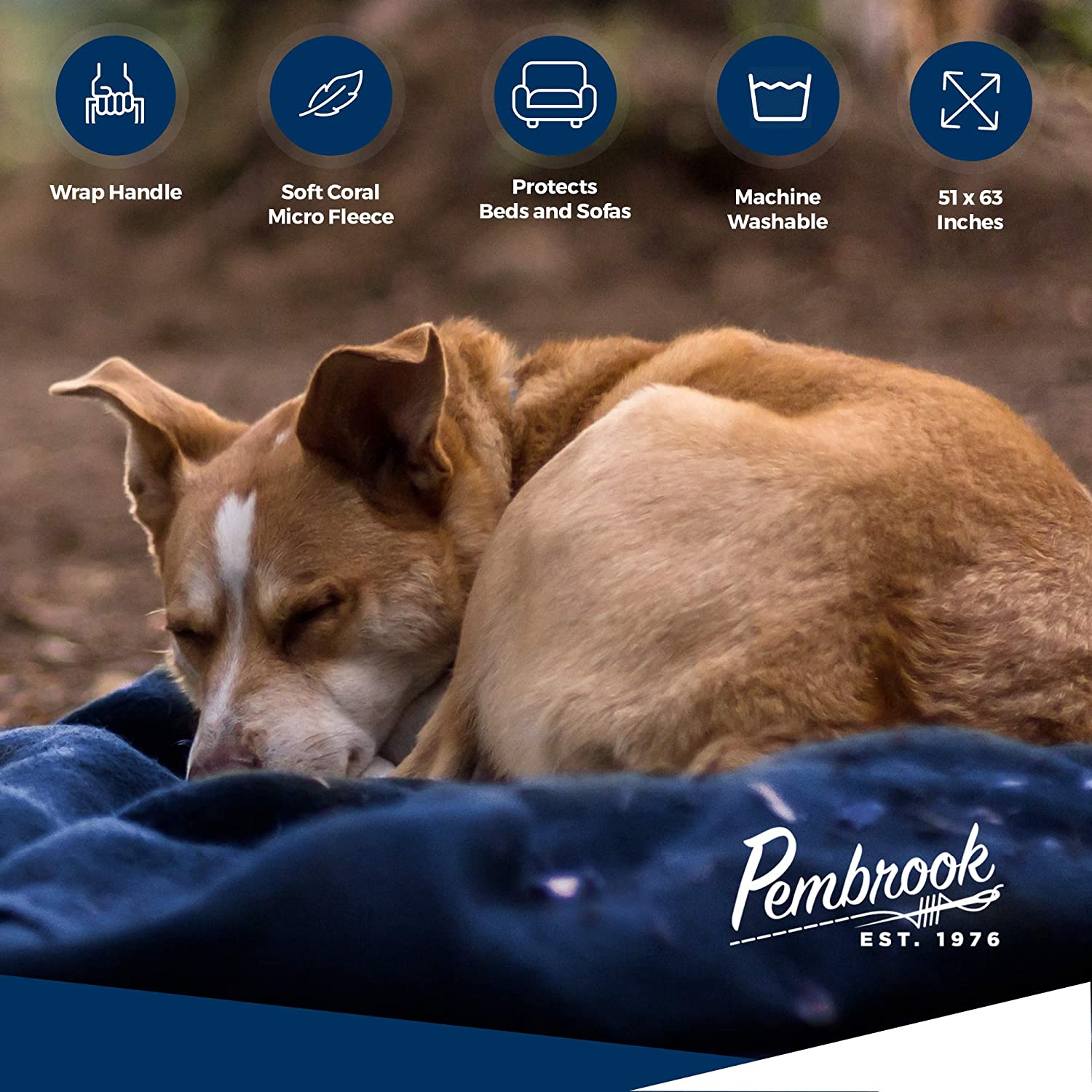 Pembrook Fleece Travel Blanket w/Handle - Super Soft and Warm