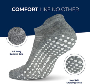Grip Socks - L/XL - (6-Pairs) - 2 Black, 2 Dark Gray, 2 Light Gray