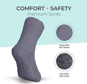 Kids Fuzzy Grip Socks - S (6-Pack)