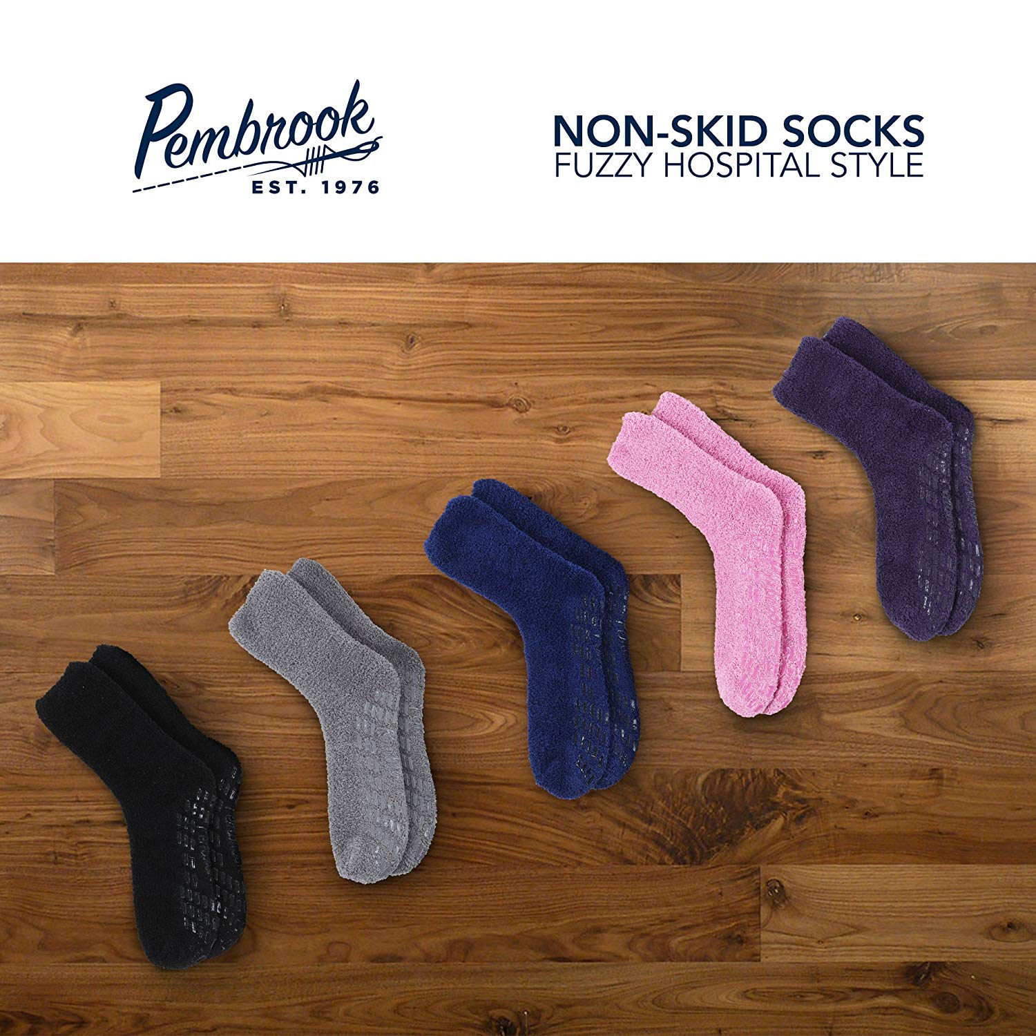 Pembrook Non Skid/Slip Socks – Fuzzy Slipper Hospital Socks (6 - Packs)