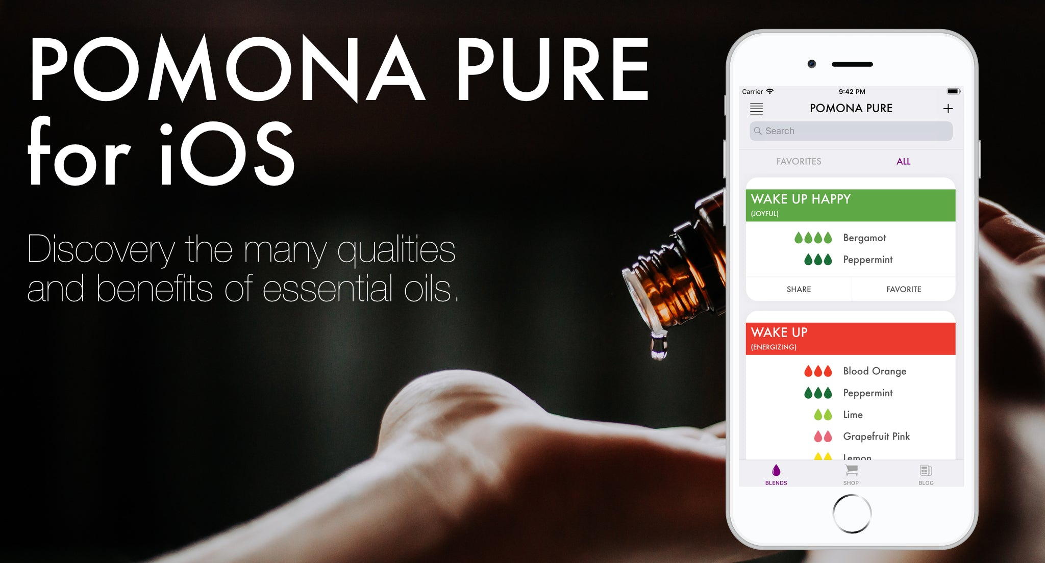 Pomona Pure for iOS, Discover the many qualities and benefits of essential oils.