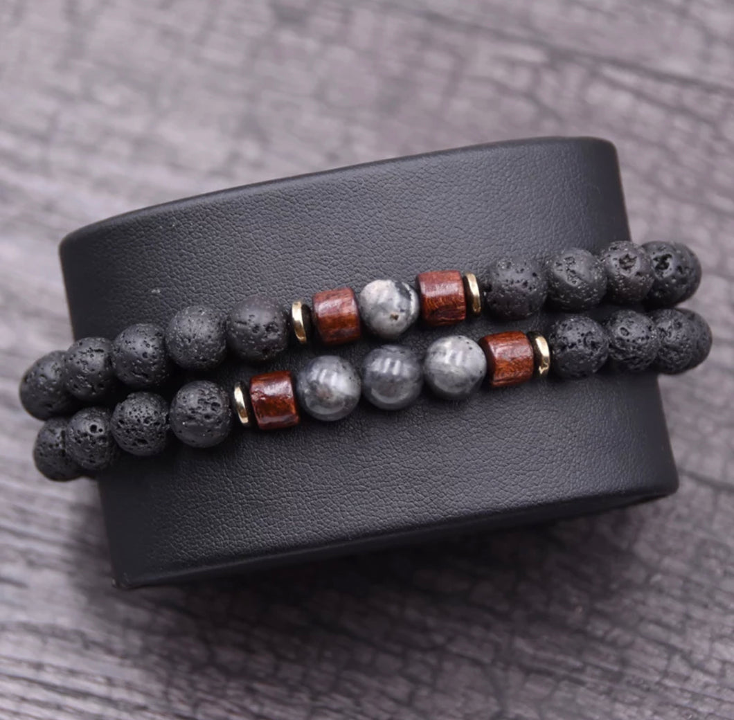 Set of 2 matching Lava Stone Bracelets