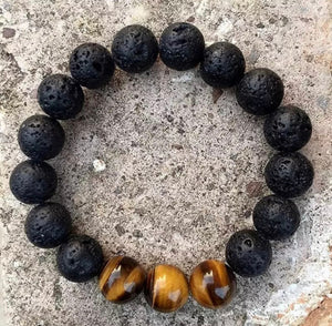 Lava stone with Tiger eye