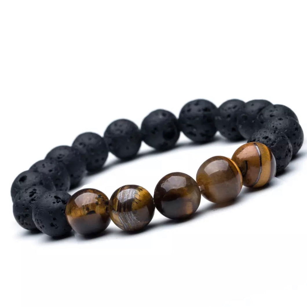 Lava stone with Tiger eye beads