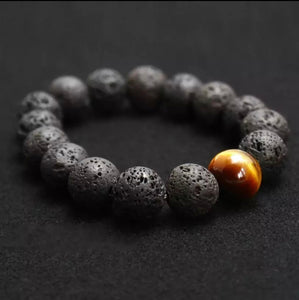 Lava stone with Tiger eye 12mm beads