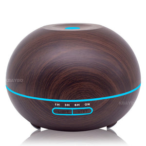 400ml Wood Grain Ultrasonic Diffuser With 7 Colour LED