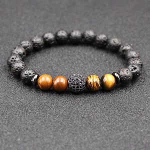 Crystal Ball Charm Tiger Eye Black Lava Stone Essential Oil Diffuser Bracelet